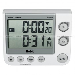 Robic M703 silent/audible Twin LED Timers